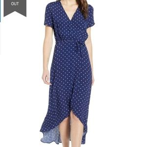 Leith Everyday High/Low Dot Wrap Dress Navy